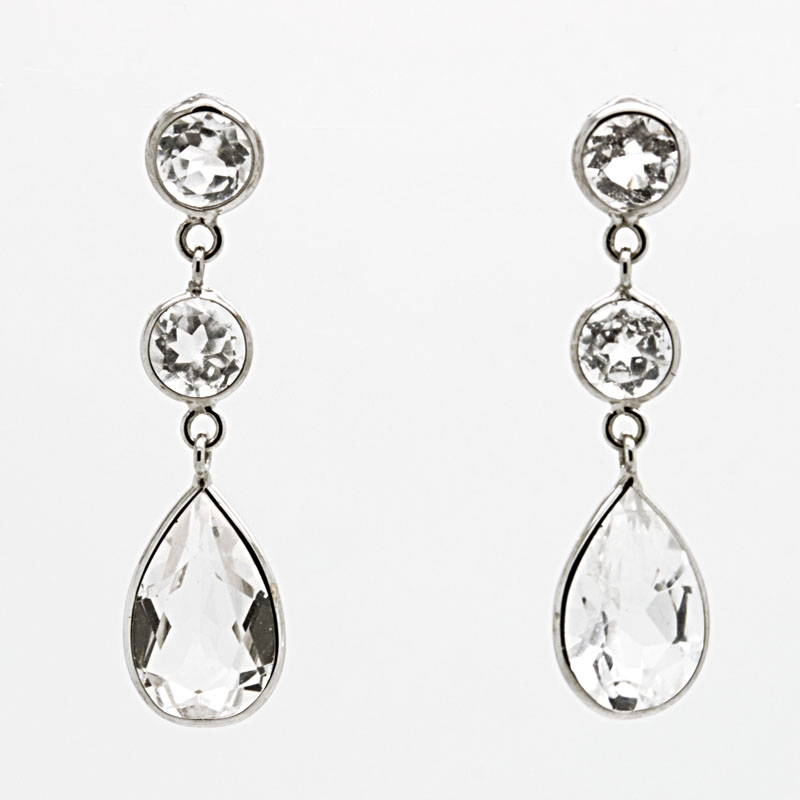 White Topaz And White Gold Drop Earrings - Item # ER4984 - Reliable Gold Ltd.